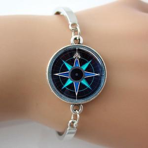 Compass Rose Bracelet, Joyas náuticas Azul marino y Aqua Art Colgante, Joyas para hombre, 2016 New Arrive Men Bracelet