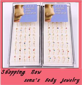 обруч нос кольцо 48 шт. / лот mix 6 цвет CZ gem ювелирные изделия тела пирсинг носа Стад золотые кольца носа