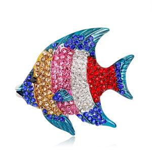 Broches Rhinestone Goldfish colorido Liga de Zinco Animal Pin Jóias Mulheres Broche Pin Acessórios de Vestuário
