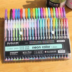 DHL 48PCS Bolígrafos de gel caliente o llenas de gel Rollerball Pastel Pastel Neon Glitter Pen Dibujo Dibujo Color Pluma Estudiante Estudio Regalo