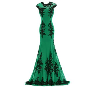 Elegant Long Evening Dresses Sexy Emerald Green Chiffon Open Back Appliques Party Runway Cheap Red Carpet Celebrity Gowns