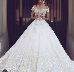 2020 Neuer Luxus Ballkleid Brautkleider Voll Stickerei königlicher Zug-weiße Spitze Brautkleider Sexy V-Ausschnitt mit kurzen Ärmeln Brautkleider 327