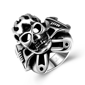 Punk Biker Mechanic Wrench Cross Flame Skull Mens Boys 316L Stainless Steel Ring US Size#8-11
