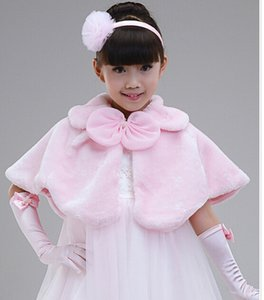 ADEDI = 5 ADET Çocuk elbise aksesuarları prenses Kürk Boleros Çiçek şallar çocuk Panço kız pelerin çocuk giyim 2 renkler pembe ücretsiz kargo