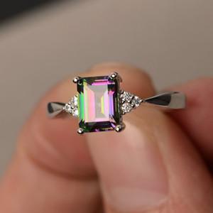 Anello da donna in argento sterling 925 Princess Cut Mystic Rainbow Topaz fidanzamento gioielli con diamanti regalo di compleanno di Natale proposta regalo Hal