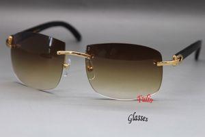 Al por mayor-2015 HOT Rimless Black Buffalo 4189705 Gafas de sol gafas de sol más grandes Tamaño del marco: 62-18-140mm