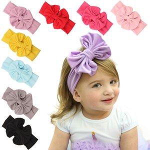 seçim için büyük yay Katı Renk 9color ile Bebek Kız Bantlar Pamuk Saç Bow Çiçek pamuk saç bandı