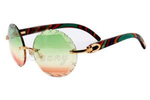 2019 Lenti multicolori, lenti sfumate, occhiali da sole intagliati rotondi di alta qualità retrò di moda 3524012-A Braccio di pavone di colore naturale, dimensioni: 56-18-13