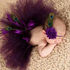 BABY عباد الشمس الطاووس ريشة رباطات الرضع صبي فتاة زهرة أغطية الرأس للأطفال الأزياء الملونة اكسسوارات للشعر الصور اتخاذ 100pcs التي