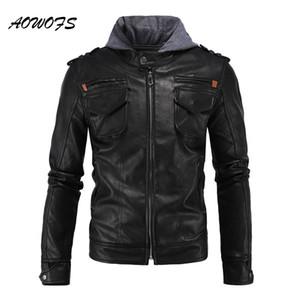 Wholesale- AOWOFS Hooded Leather Jackets Men Safari Coats Black Moto Leather Jackets with Hood Hip Hop Fashion Male Leather Jacket Big Size