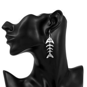 Marque nouvelle plaque en argent sterling Fishbone Boucles d'oreilles DFMSE676, argent 925 femmes Dangle Chandelier boucles d'oreilles 10 paires d'une usine de lot de la vente directe