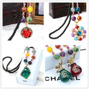 Korean Style Fashion Vintage Long Sweater Rhinestone Rainbow Bohemian Necklaces Aolly Jewelry chain