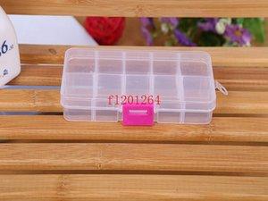 200 unids / lote Fedex DHL envío gratis cuentas de joyería al por mayor clara caja de plástico de almacenamiento de contenedores 10 compartimentos
