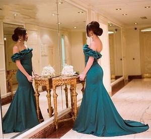 Sereia Vestido de Baile Verde Esmeralda Sexy Off Ombro pavão Vestidos De festa Elegante Formal Vestido de Noite 2015 Meio Esta