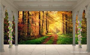 3d Landschaftstapete Pfosten-Balkon Autumn Woods-Landschaftstapetenbadezimmer