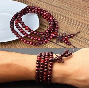 Оригинал ручной работы натурального дерева красного сандала бусины многослойные браслеты для женщин и мужчин 6 мм 108 шт. браслеты Будды браслет лучший подарок