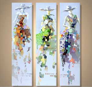 El Boyalı Modern Soyut Yağlıboya resim Dekorasyon Tuval Duvar Dekorasyon için 3 Paneller unframe