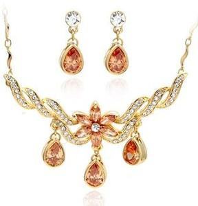 more color crystal waterdrop wedding bride jewerly set necklace(40+3cm) earings (2.3*0.8cm) (400-cn )