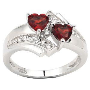Naturali Red Granato Double Heart 925 Silver Ring Women Jewelry Gennaio Compleanno Birthstone Gift per Lover R014RGN