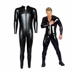 Traje masculino de cuero de los hombres Sexy Vestido de cuerpo completo Uniforme Cremallera Traje de PVC Faux Leather Rubber Gay Costume