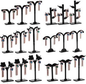 أسود acylic حلق شجرة على شكل عرض موقف حامل الأزياء ثلاث قطع الماعز قرن صغير عرض الرف تخزين الرف