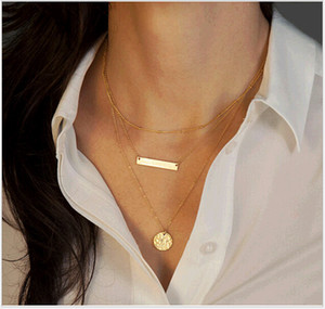 Persönlichkeit Schicht Kette Bar Halskette Modeschmuck Straße Europa Dreieck Münze Ketten Chockers Halsketten 9 Arten B444