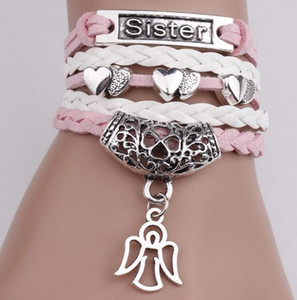 Colgante de joyería Infinito Charm Bracelets Mujeres Cuerda Letter Brazaletes Wrap Bracelets Brazalete Heart Sister Multicapa Vintage Braided Bracelet