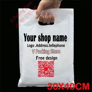 Wholesale-30*40cm Custom print plastic bags packaging gift bag for shopping garment handle carrier logo  designed PE bags Wholesale