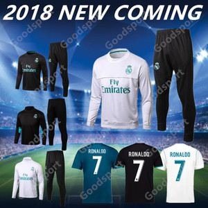 2018 REAL MADRID Tracksuits eğitim setleri kıyafetler Ceket Pantolon 18 Futbol Formalar 17 18 Ronaldo ASENSIO Futbol Sergio Ramos SICAK SATIŞ