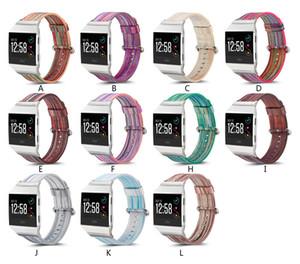 럭셔리 Painted 양피 시계 밴드 스트랩 Fitbit 블레이즈 서지 이온 충전 2 시계 패턴 다채로운 손목 시계 팔찌 시계 밴드