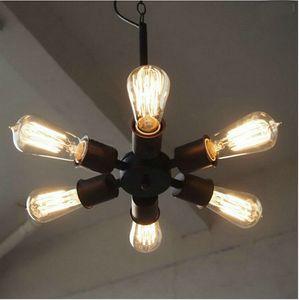 colgante de luminarias Lámparas industriales E27 6heads la lámpara LED de la lámpara moderna negro Clásico para Office iluminación de la sala