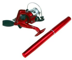 고품질 6 색 미니 알루미늄 포켓 바다 펜 낚싯대 극 + 릴 무료 배송