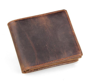 남자 정품 가죽 레트로 짧은 Bifold 지갑 쇠가죽 채찍 동전 지갑 카드 홀더 머니 클립 슬림 빈티지 디자인 지갑