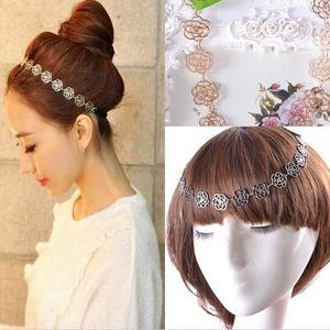 2020 새로운 핫 패션 금속 레이디 중공 장미 꽃 탄성 헤어 머리띠 골드 투구 모자 액세서리 여성 결혼식 용 액세서리