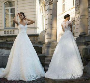 Trendy V-Neck Sexy Wedding Dresses Church 2018 Lace Tulle Applique Train Sheer vestido de noiva Bridal Gown Ball Church For Bride