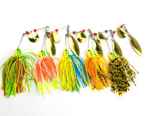 Hengjia Wholesale new 20pcs doble pieza Spinners señuelos de pesca 14.3G 5 colores 4.7CM 1.7CM SB001