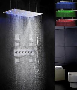 5 물 기능 함께 또는 별도로 작동 80X40 CM 비 Swash 분무 샤워 헤드 욕실 LED 샤워 꼭지 세트 008-80x40WQL-6MF