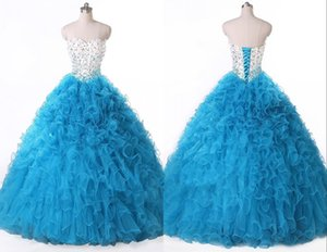 2016 High Quality Ball Gown Blue Quinceanera Dresses Sweetheart Beading Crystal Prom Party Sweet 16 Dress Vestidos De 15 Dresses WD221