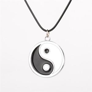 Chino Tai Chi Logo colgante collar Anime Naruto Neji yin yang ying y esmalte negro y blanco Collares Cosplay Accesorios Joyería