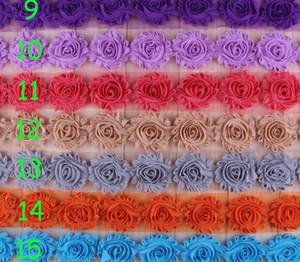 """15 개 가지 색상 아기 어린이 헤어 액세서리 2.5 """"쉬폰 꽃 트림 세련된 초라한 꽃 트림 마모 근엽을 선택"""