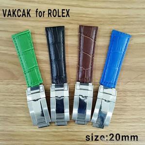 Correa de calidad de 20 mm para Rolex SUB / GMT Correa de cuero genuino Accesorios de reloj duraderos con plata original hebilla de acero watchess