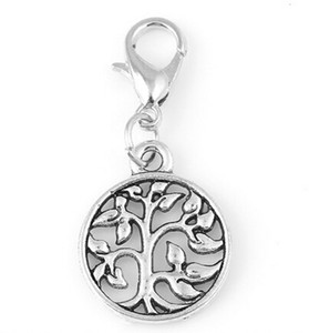 20pcs lot Family Tree Of Life Plates Dangle Charms Pendant With Lobster Clasp For Glass Floating Locket Jewelrys