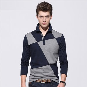Nuevos polo camisa poloshirts primavera camisas de negocios slim fit polo camisetas venta al por mayor de manga larga marca polo camiseta diseño de costura