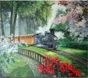 Yeni Elmas Nakış İğne diy Elmas boyama Çapraz Dikiş Kitleri orman çiçek tren tam yuvarlak elmas mozaik Odası Dekor yx1448