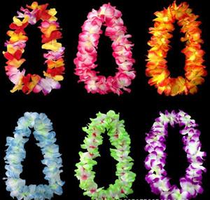 Hochzeits-Party-Dekoration Hawaiianer Blumen Halskette Kränze Gras Röcke Zubehör Halskette Künstliche Blumen Bunte Drop Shipping