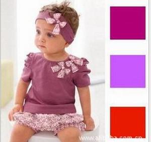 Set di tre pezzi vestito floreale ragazze Amissa (camicia + pantaloncini pantaloni + fascia) Set di vestiti per bambini abbigliamento per bambini 9pcs = 3sets