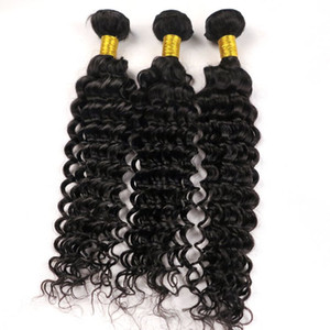 El cabello humano 100% virgen teje la trama Onda profunda Rizado 8 ~ 34 pulgadas Color natural Peruano Indio de Malasia Desenredar los paquetes de cabello Extensiones a granel