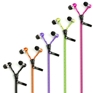 Zipper Earphones Headphones Headset 3.5mm Baixo auriculares In-Ear Zip fone Headphone com MIC para Samsung S6 HTC