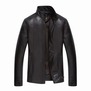 Wholesale-  New Leather Jackets Men Jaqueta De Couro Masculina Avirex Leather Jacket Inverno Couro Mens Stand Collar Jacket 203F