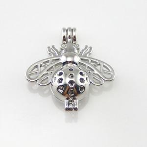 Collar de perlas con colgante, difusor de aceites esenciales, la abeja proporciona 10 pzas de acero inoxidable, agrega tu perla para hacerla más atractiva